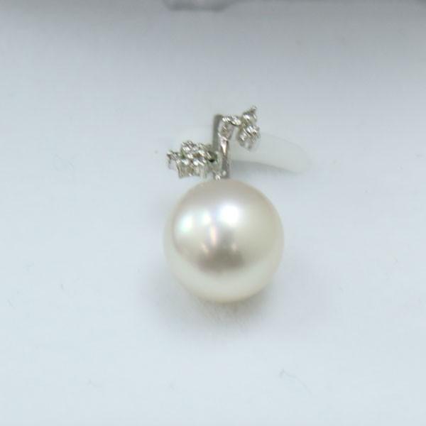真珠 パール ペンダント 南洋真珠 10mm ホワイトカラー 白蝶真珠 ペンダントダイヤ ホワイトごゴールド 6月誕生石