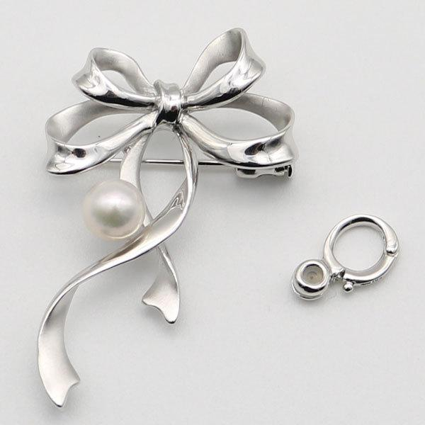 真珠 パール ブローチ あこや真珠 パールブローチ 7.5mm-8mm ホワイトカラー リボン デザイン シルバー アコヤ本真珠