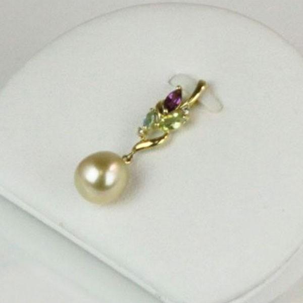 真珠 パール ペンダント 白蝶真珠 南洋真珠 9mm ペンダント ナチュラルゴールド 半輝石 18金 ダイヤ パール 真珠 ムーンストーン