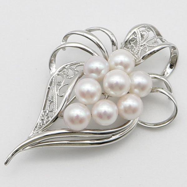 真珠 パール ブローチ あこや真珠 パールブローチ 7mm-7.5mm 8pcs ホワイトピンクカラー デザイン 冠婚葬祭 卒業式 入学式