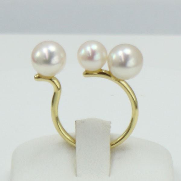 真珠 指輪 パール リング あこや真珠 6mm-8mm パール リング 指輪 K18 ホワイトピンクカラー デザイン アコヤ真珠