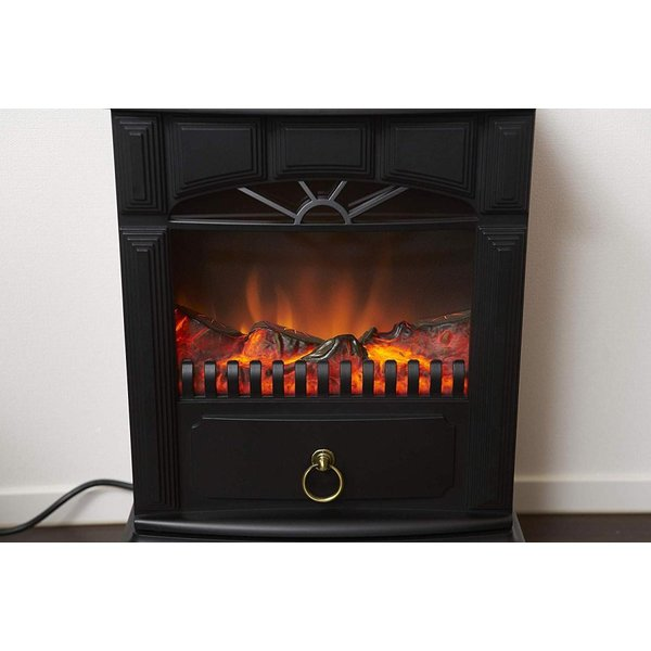 山善 暖炉型ヒーター 疑似炎 照度調整機能付き アンティーク ブラック YDH-SK10(B)