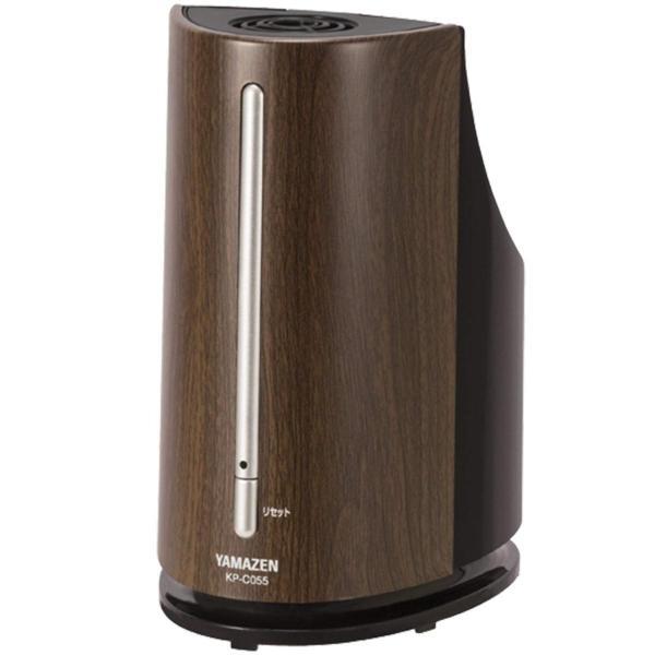 山善 ペットボトル式加湿器(木造約3畳/プレハブ約6畳) アロマポット付 ブラック×木目 KP-C055(BM)