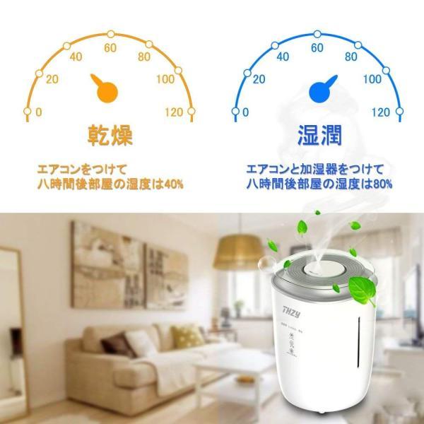 THZY 加湿器 大容量 空気清浄機 ミストの出力調節可能 超音波式 加湿器 大容量4000ML 空焚き防止機能付き 水質浄化装置付き アロ