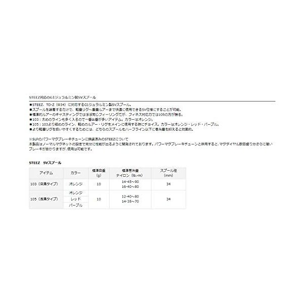 Daiwa SLP WORKS(ダイワSLPワークス) SLP ワークス スプール ベイトリール用 STEEZ SVスプール 105(浅溝タ