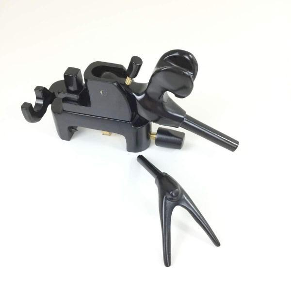 18x27芳技(よしわざ) 竿掛け 1本半物 口巻+大砲万力 コクタン (小型)セット (40104-20026set) 140サイズ