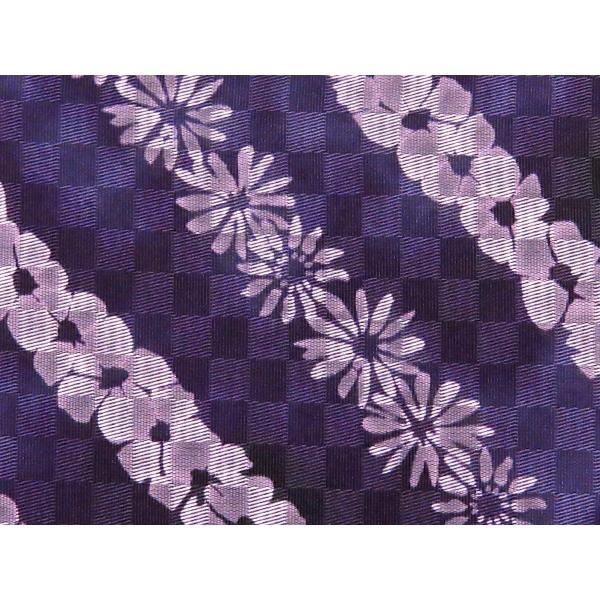 浴衣帯 レディース 博多織 本袋帯 絞り調の半幅帯 単品「紫系 花柄」TKB063