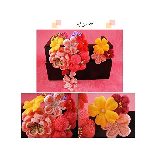 ぷっくり梅の花つまみ細工髪飾り オレンジ 成人式 結婚式 卒業式 浴衣