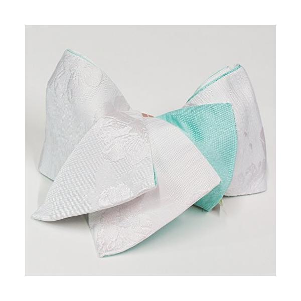 半幅帯 モダン花柄ふくれ織×七宝柄 リバーシブル ストライプライン柄 浴衣 小袋帯 半巾帯 白色×ミント色 ポリエステル100%