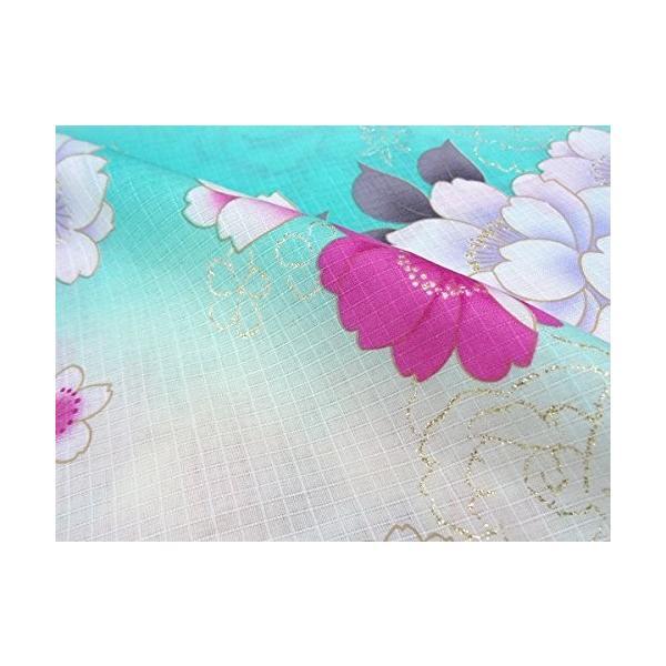 Jouer ete Couleur art modern レディース浴衣 白×エメラルドグリーン/牡丹No.109