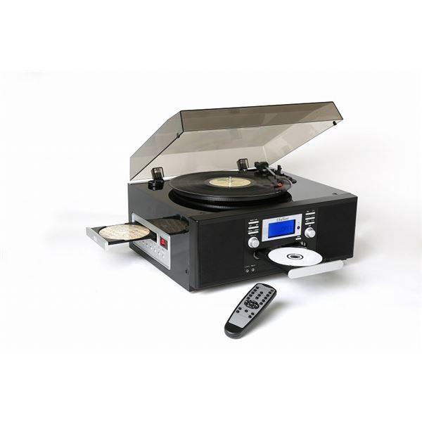 ダブルCDマルチプレーヤー/レコードプレーヤー 〔ピアノブラック〕 スピーカー内蔵 とうしょう TS-7885PBL|arinkurin2