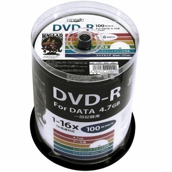 HIDISC(磁気研究所) データ用 DVDR 16倍速 100枚 ワイドプリンタブル HDDR47JNP1005P (5個セット)