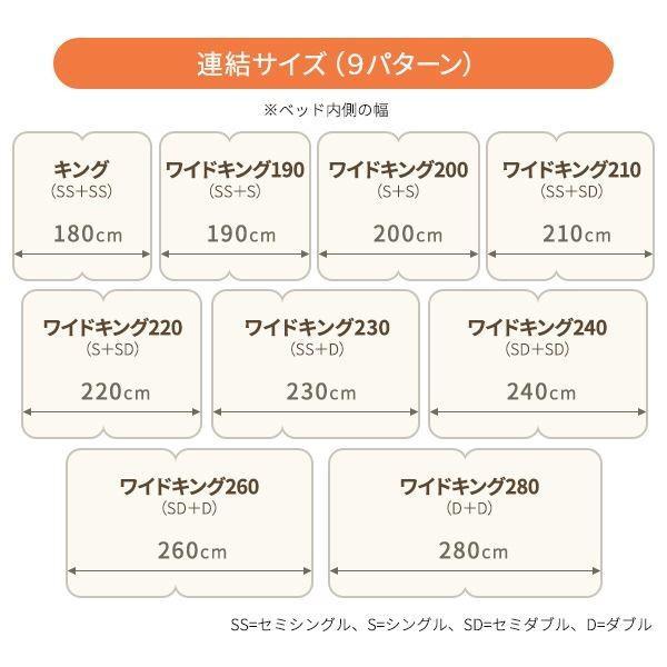 日本製 連結ベッド 照明付き フロアベッド ワイドキングサイズ260cm(SD+D) (ベッドフレームのみ)『Tonarine』トナリネ ブラック arinkurin2 05