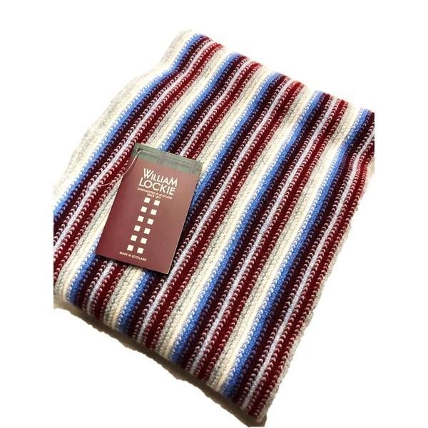 英国製 100%Pure LAMBSWOOL WILLIAM LOCKIE ウィリアムロッキー ストライプマフラー エンジ   ファッション arinkurin2