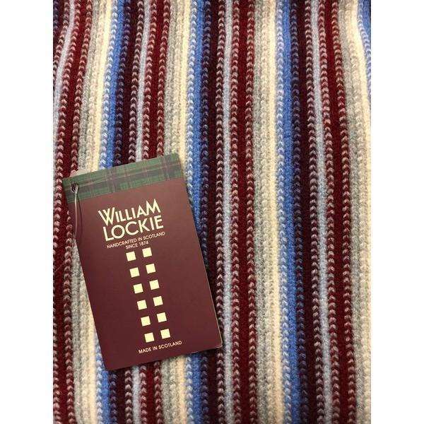 英国製 100%Pure LAMBSWOOL WILLIAM LOCKIE ウィリアムロッキー ストライプマフラー エンジ   ファッション arinkurin2 02