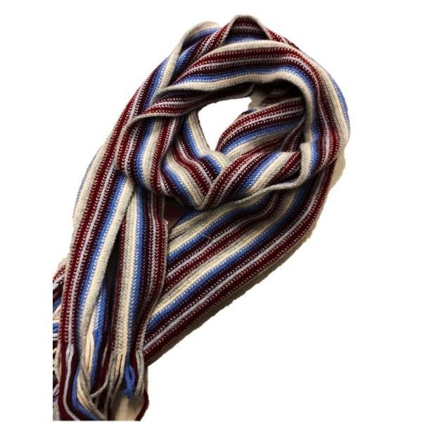 英国製 100%Pure LAMBSWOOL WILLIAM LOCKIE ウィリアムロッキー ストライプマフラー エンジ   ファッション arinkurin2 03