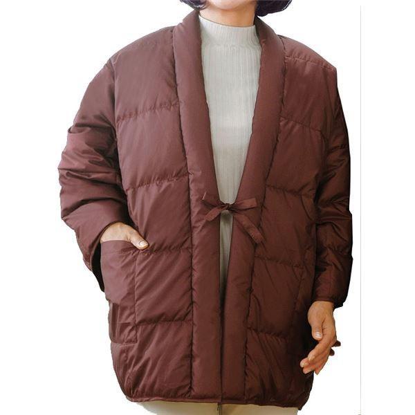 ファッション | あったか羽毛 半天防寒着 (レディース ワイン) 着丈約80cm 洗える 撥水加工 軽量 ダウン使用 ポケット付き|arinkurin2