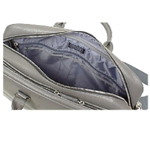バッグ | 防水撥水加工合成皮革・ ビジネスバッグ ブリーフケース B4サイズ対応 ダブルマチ グレー
