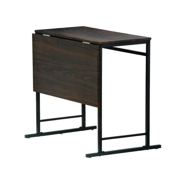 折りたたみテーブル/ダイニングテーブル (スライド式天板) 幅75cm アジャスター付き ダークブラウン|arinkurin2|02
