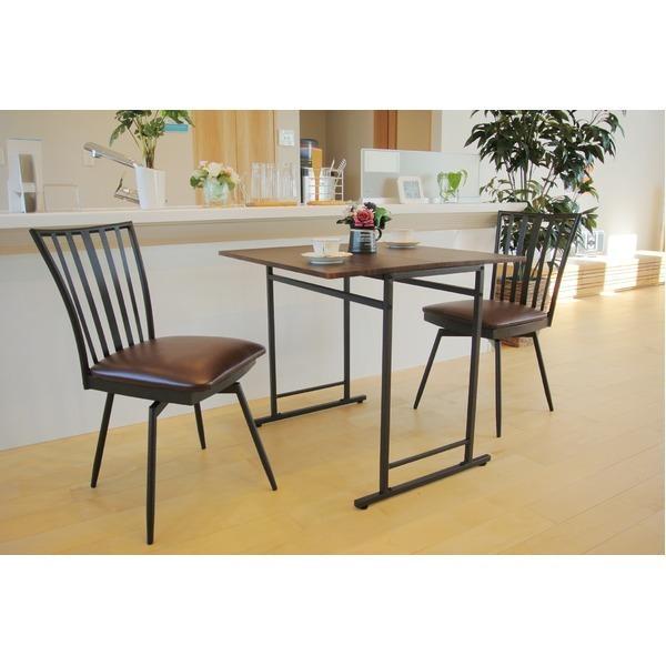 折りたたみテーブル/ダイニングテーブル (スライド式天板) 幅75cm アジャスター付き ダークブラウン|arinkurin2|04