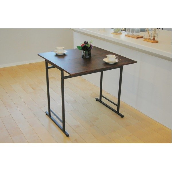 折りたたみテーブル/ダイニングテーブル (スライド式天板) 幅75cm アジャスター付き ダークブラウン|arinkurin2|05