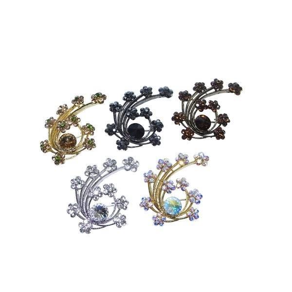 ファッション | 10個のお花と大きなクリスタルのブローチシャンパンゴールド|arinkurin|02