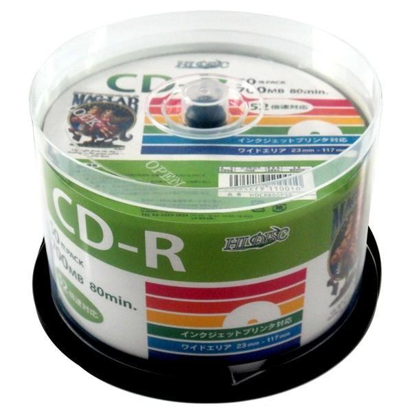 デ‐タ用CDRメディア52倍速 レーベル ワイドタイプ プリンタブル白50枚スピンドル (6個セット) HDCR80GP506P