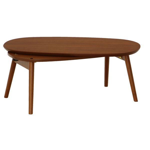 こたつ | 折れ脚こたつテーブル アイビス 本体 (楕円形オーバル型) 幅90cm×奥行50cm 木製 DBR ダークブラウン (完成品)