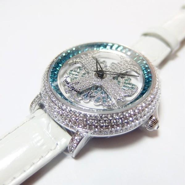 レディース(女性) | アンコキーヌ ネオ 40mm バイカラー ミニクロス シルバーベゼル インナーベゼルブルー ホワイトベルト アルバ 正規品(腕時計・グルグル時計)