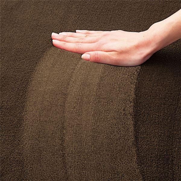 ラグマット | 撥水 厚みふかふかボリュームタッチラグマット/絨毯 〔ブラウン 約90cm×120cm〕 厚み約18mm 長方形 折りたたみ|arinkurin|03