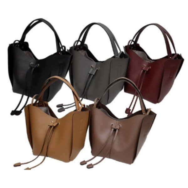 トートバッグ | 柔らか素材 大きく開閉する巾着っぽいカゴ型シンプルハンドバッグキャメル