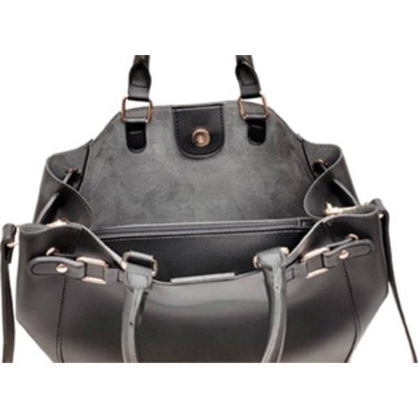 トートバッグ | ショルダーになるポーチ付 パカッと開く上質素材のトートバッグブラック