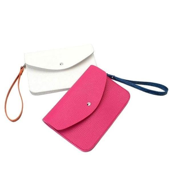 クラッチバッグ | 超薄型 ダブルポケットにハンドストラップまでついたショルダーバッグチェリーピンク
