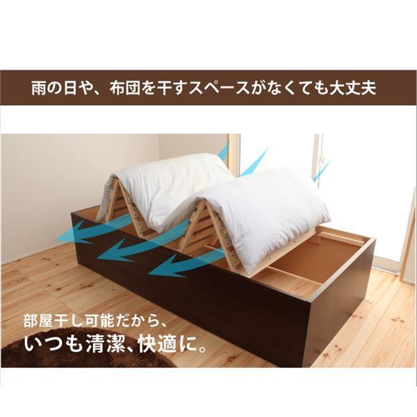 収納付きベッド   山型スノコ 大型収納ベッド セミダブル ブラウン フレームのみ arinkurin 03