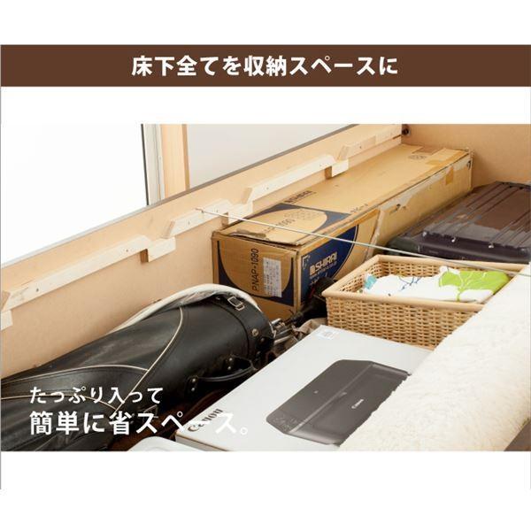 収納付きベッド   山型スノコ 大型収納ベッド セミダブル ブラウン フレームのみ arinkurin 04