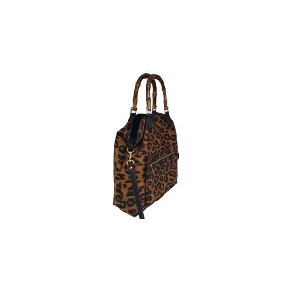 トートバッグ | 全5色 ワイルドなヒョウ柄くったりトートバッグダークグレイ