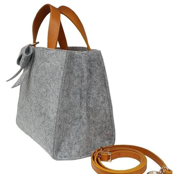 トートバッグ | 軽量 フェルト素材の仕切り付リボントートバッグエトフ
