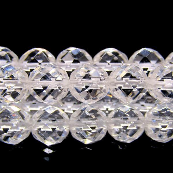 天然クリスタル(天然水晶) AAA 6mm 64面 ラウンドカット 1連 60粒|arnavgems|02