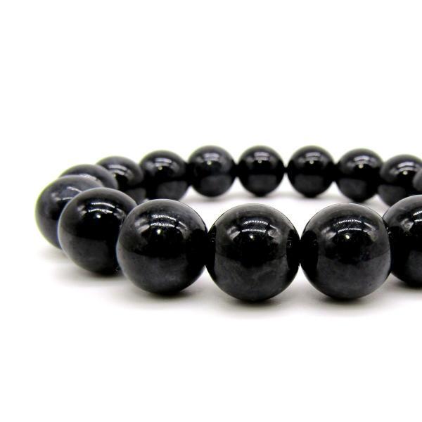 高品質!! ミャンマー産 ブラック ジェイド (黒翡翠) ブレスレット 12mm arnavgems 02