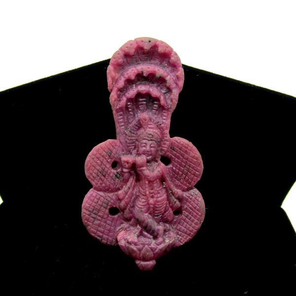天然ルビー!! クリシュナ像(インドの神様) ディスプレイ 高級ケース付き arnavgems