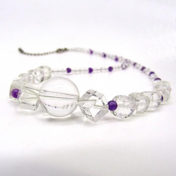天然水晶 天然アメジスト カット ネックレス Silver925 arnavgems
