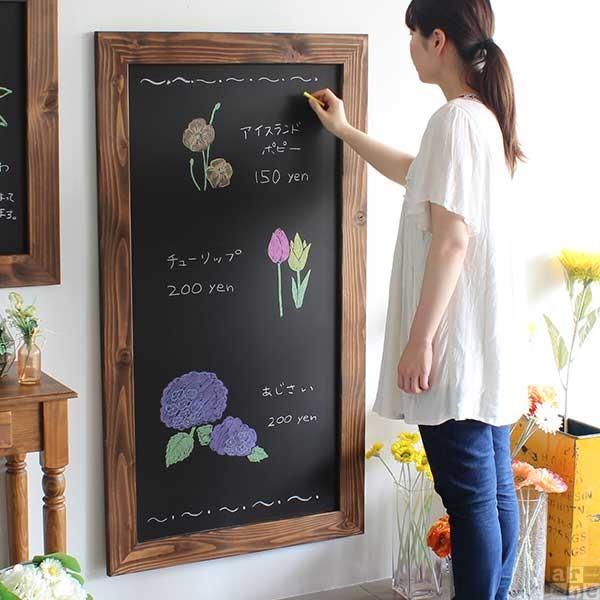 黒板 おしゃれ ウェルカムボード 壁掛け ブラックボード デザイン アンティーク 木枠 STYLE BB6012 LBR|arne-rack|02