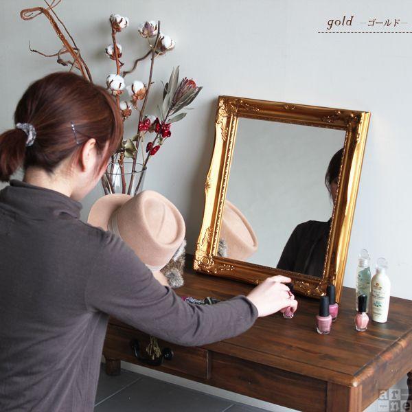 ミラー 鏡 卓上 アンティークミラー ゴールド 卓上鏡 壁掛けミラー アンティーク調 メイクミラー amsミラー|arne|03