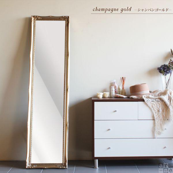 スタンドミラー アンティーク ゴールド 鏡 ミラー 全身 幅40 全身鏡 全身ミラー 姫系 姿見 amm|arne|02