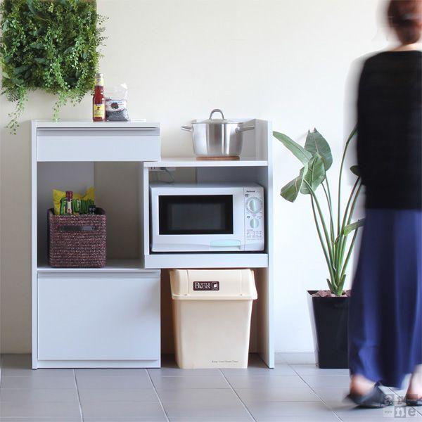 キッチン収納 レンジ台 スライド 炊飯器 ラック 幅60 完成品 伸縮 レンジボード コンセント付き R+レンジ台 60H|arne|02