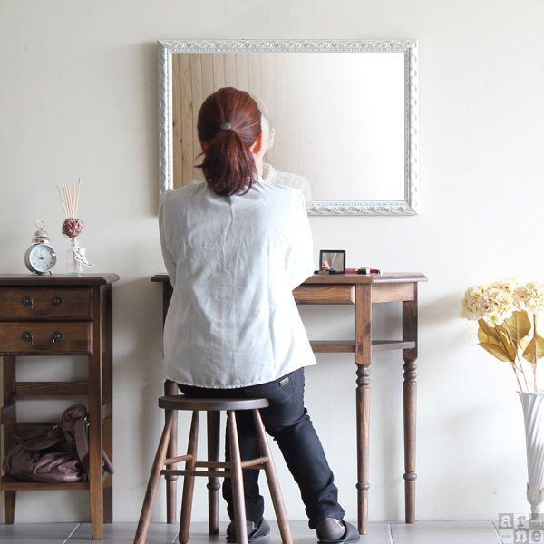 鏡 壁掛け おしゃれ アンティーク ミラー ホワイト 壁掛けミラー ウォールミラー 玄関 姿見 幅52cm 高さ77cm F-004WM4570|arne|02