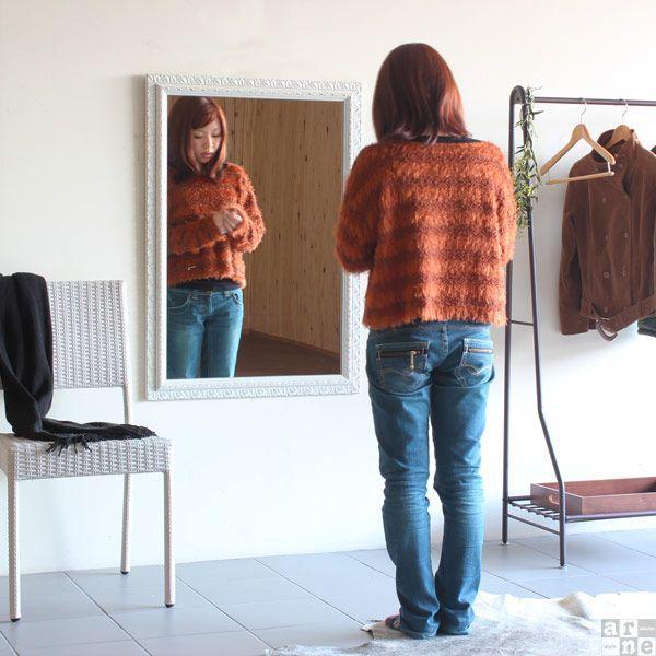 壁掛け鏡 アンティーク調 鏡 白 ウォールミラー 姿見鏡 壁掛け 玄関 おしゃれ 幅71cm 高さ102cm F-003WM6090 arne 03