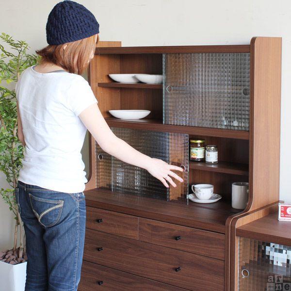 キャビネット 食器棚 幅90 引戸 木製 リビングボード キッチンボード 脚付き おしゃれ 北欧 完成品|arne|03