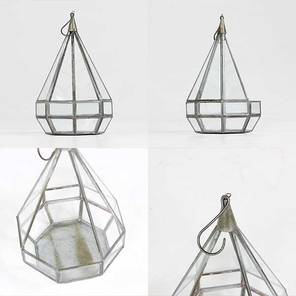 植物 テラリウム アイアン 雑貨 おしゃれ 花瓶 アンティーク ガラス 北欧 カフェ ガーデニング 吊る ガーデン雑貨 Tear Drop Terrarium large|arne|02