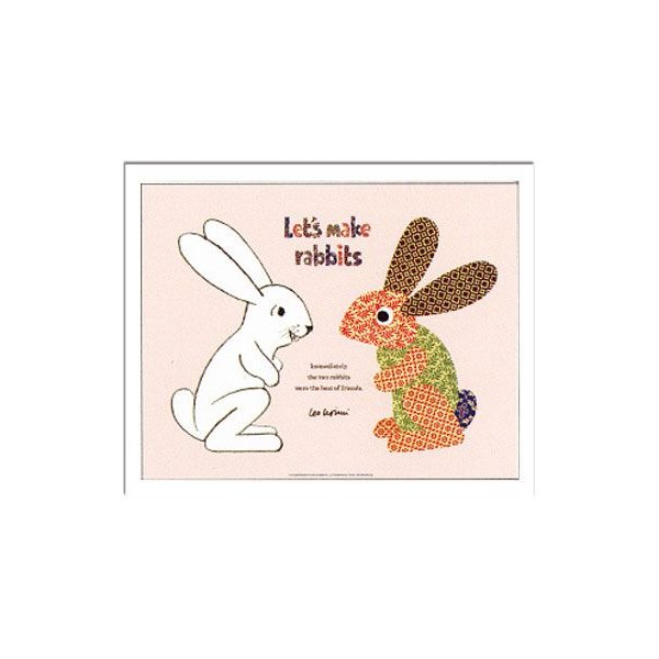 ポスター アートポスター アートパネル アート 壁面装飾 ZLL50906 Leo Lionni Lets make rabbits レオ・レオニ  おしゃれ インテリア イラスト 絵本|arne